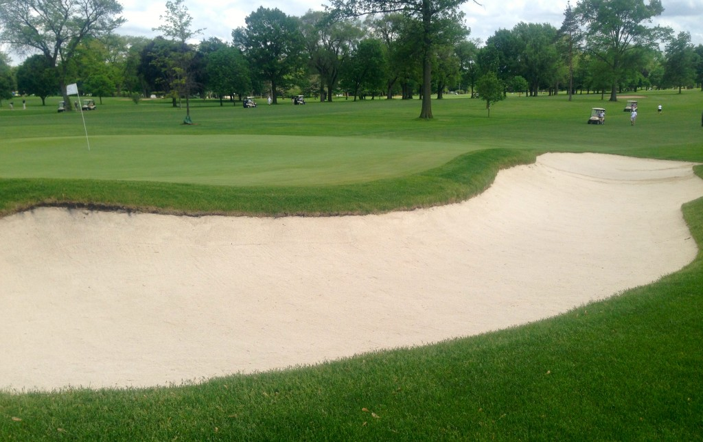The long par-4 eighth hole, with its big green-side bunker, is Medinah No. 2′s No. 1 handicap hole and it will remain a course highlight after the restoration is completed.